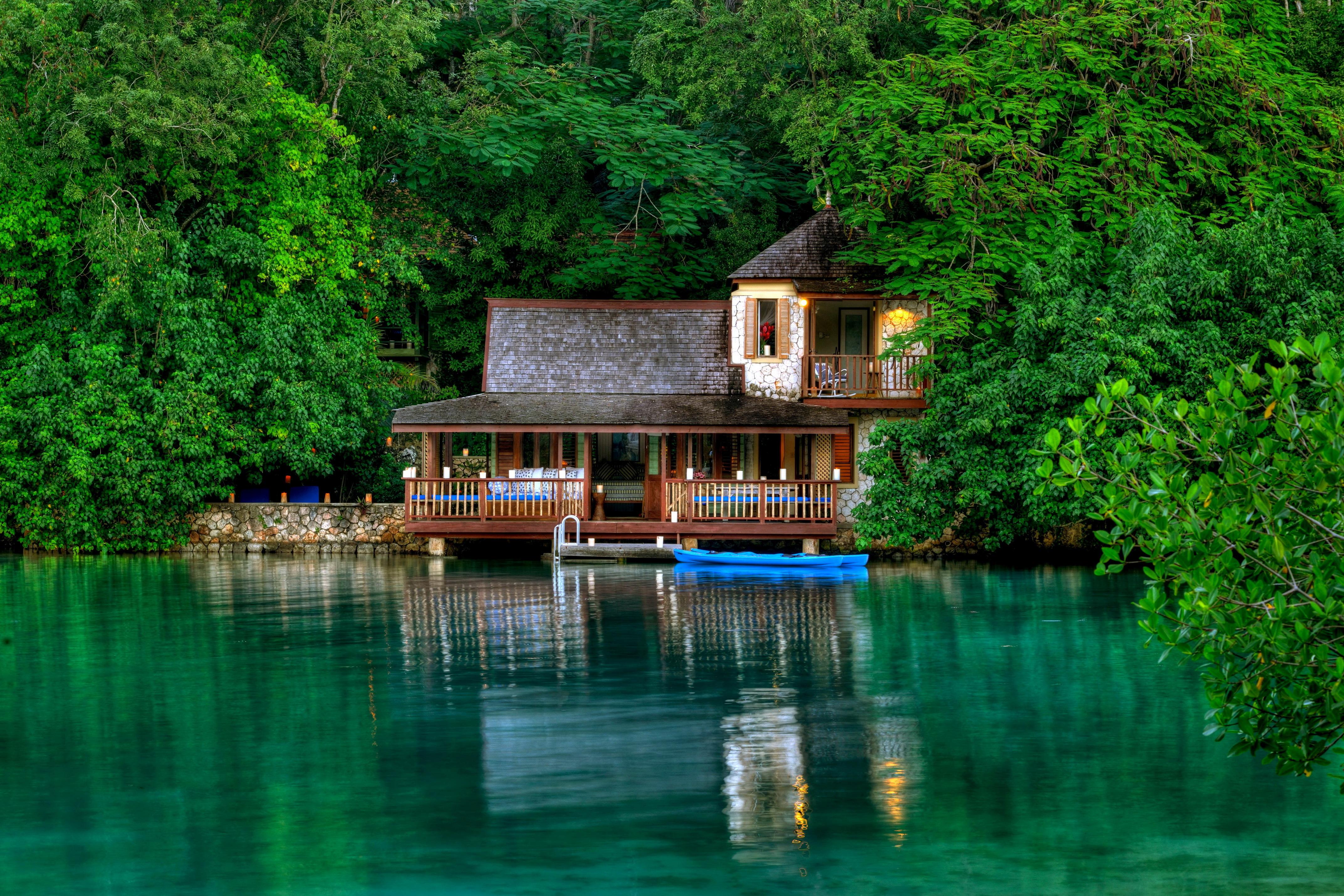 природа озеро дом лес деревья  № 2447877 бесплатно