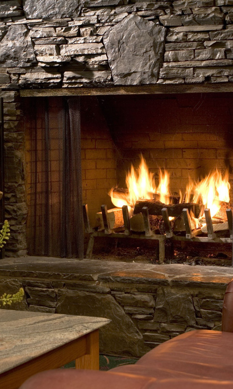 fireplace firewood flicker flame christmas - 480×800
