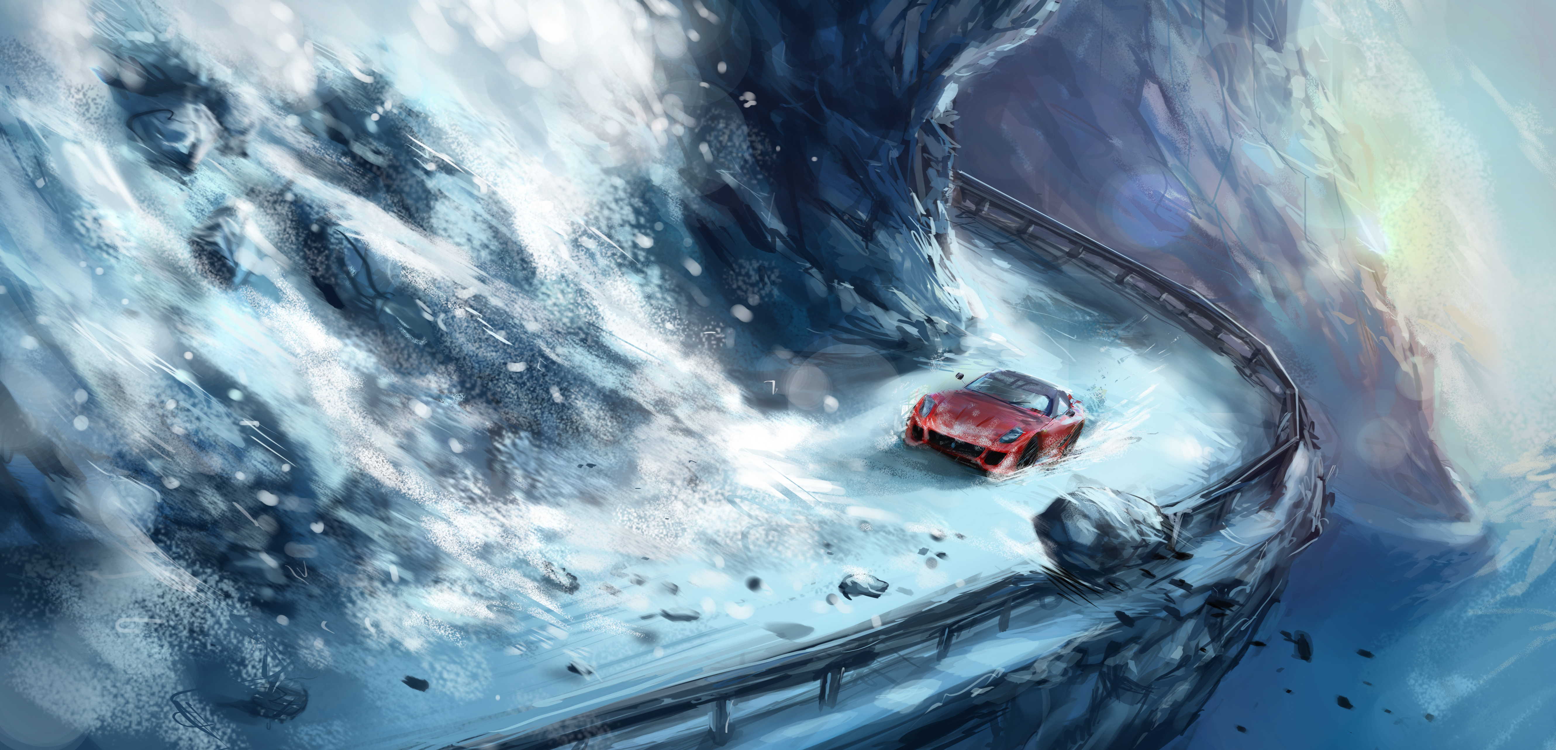 зима, пробки, ледниковый период, машины, фэнтези  № 1653948 загрузить