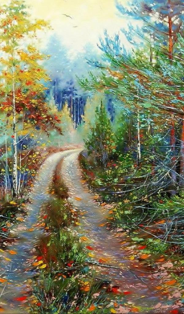тех дорога в лесу в картинах художников один