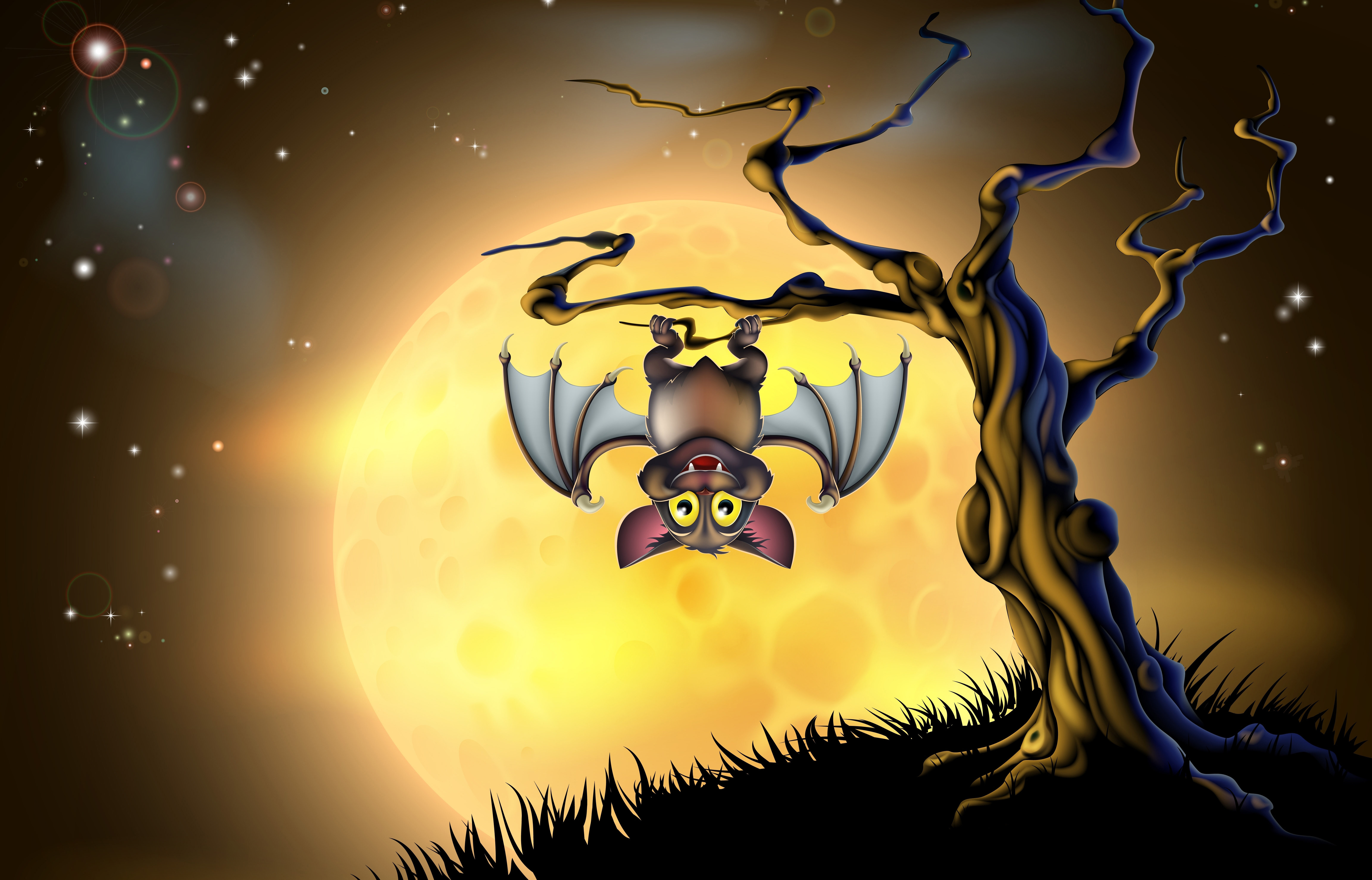 Открытки с ночью летучих мышей, анимация русалка гифка