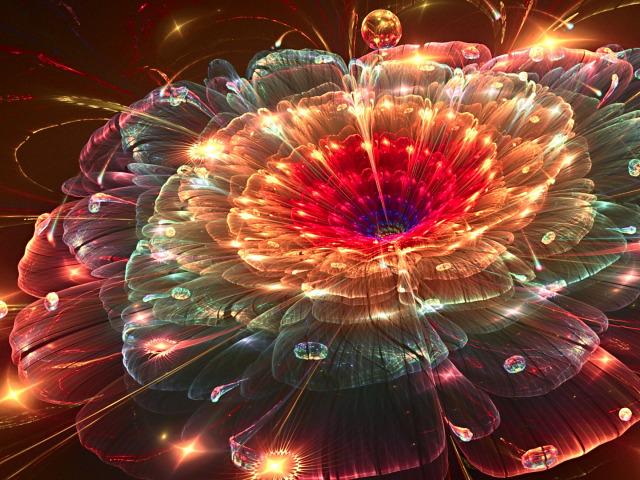Обои fireworks, red, drops, flower картинки на рабочий стол, раздел абстрак