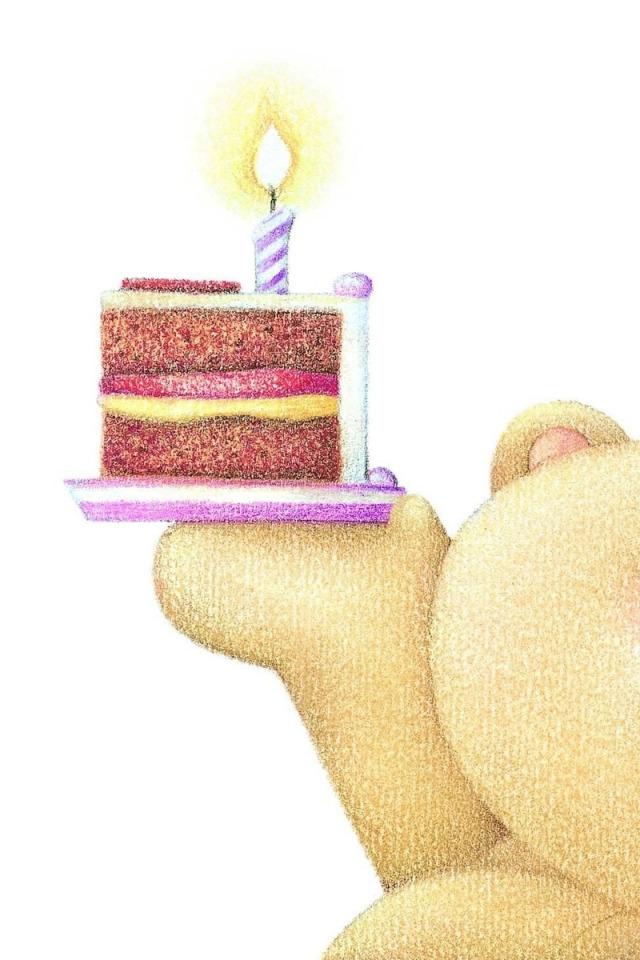 Открытки с днем рождения мишка с тортом, дорогие