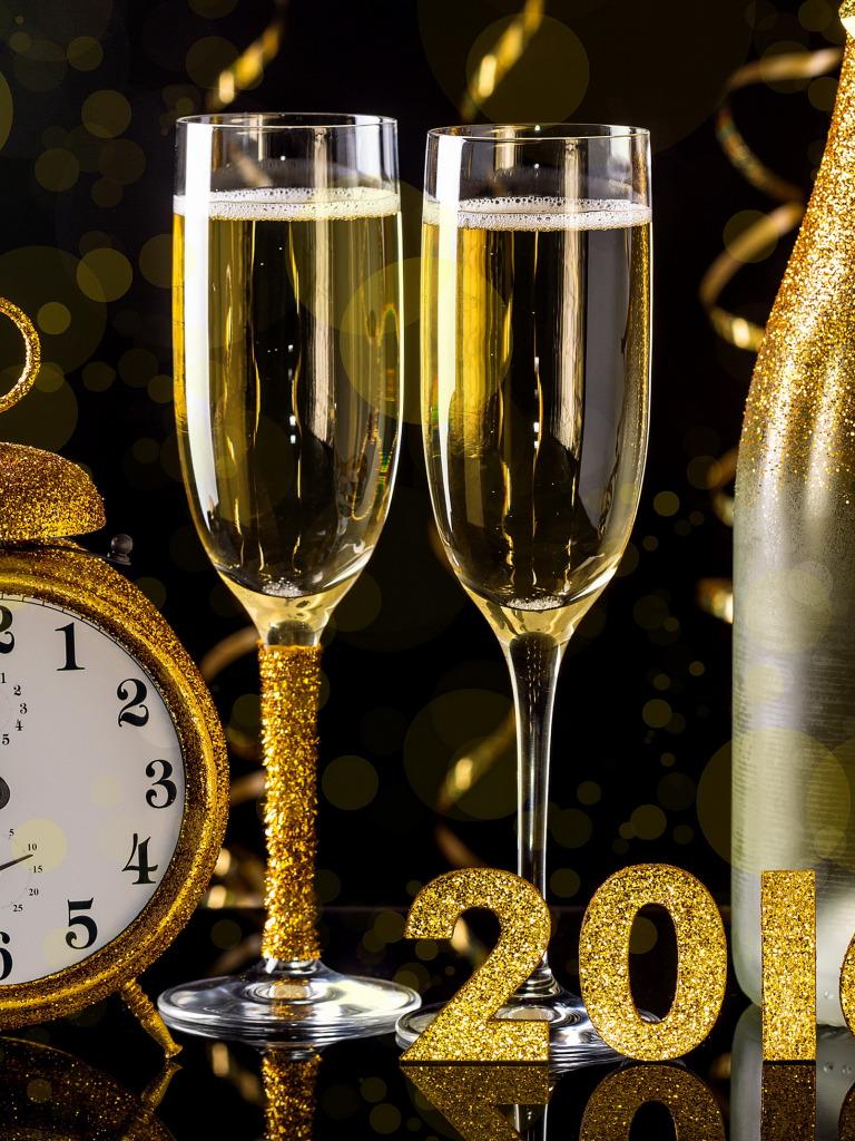 Картинка новогодние бокалы с шампанским