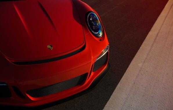 Картинка 911, Porsche, Orange, Front, Sun, Color, GT3RS, Supercar, Ligth