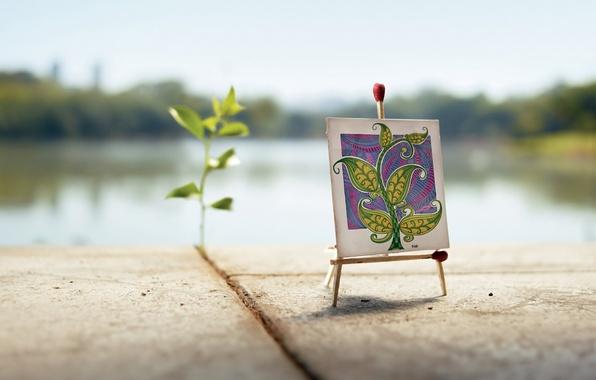 Картинка креатив, завитушки, рисунок, росток, спички, плиты, холст