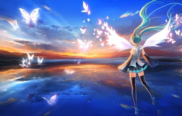 Картинка небо, девушка, бабочки, закат, крылья, чулки, наушники, платье, hatsune miku, Vocaloid, голубые волосы