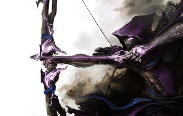 Картинка оружие, маска, лук, арт, стрела, плащ, лучник