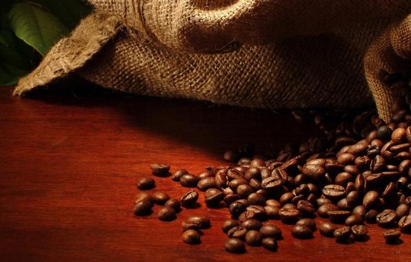 Картинка мешок, кофейные зерна, листики, leaves, bag, coffee beans