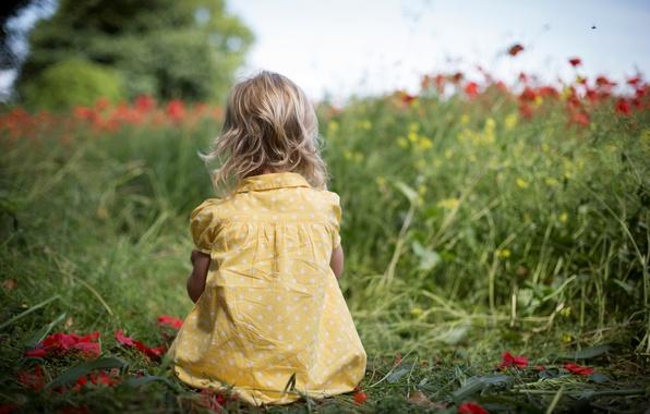 Картинка зелень, поле, трава, цветы, природа, дети, фон, widescreen, обои, настроения, ребенок, горошек, платье, девочка, wallpaper, …