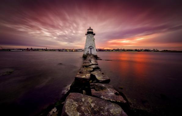 Картинка ночь, маяк, United States, Massachusetts, New Bedford