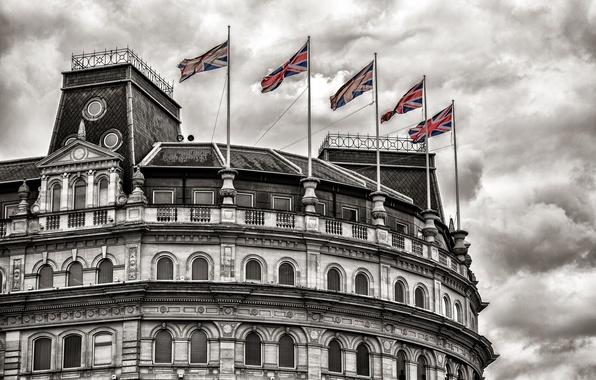 Картинка здание, флаги, Trafalgar Square London, Grand Buildings