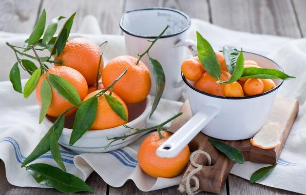 Картинка листья, капли, посуда, доска, фрукты, оранжевые, цитрусы, салфетка, мандарины, кумкваты, Anna Verdina