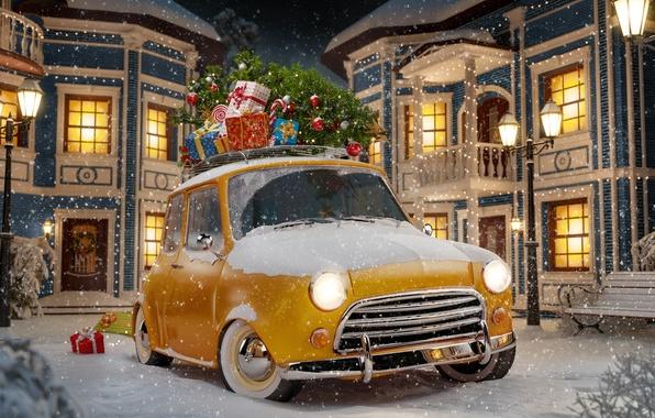 Картинка зима, авто, снег, снежинки, желтый, абстракция, ретро, фон, фары, игрушки, елка, арт, подарки, стоянка, парковка, ...