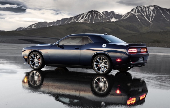 Картинка Вода, Отражение, Горы, Dodge, Challenger, Пейзаж, Hemi, Muscle Car, Srt