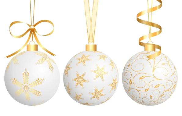 Картинка ленты, белый фон, год, новый, елочные шары
