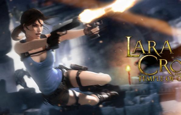 Картинка девушка, прыжок, пистолеты, lara croft, tomb raider, Lara Croft and the Temple of Osiris, temple …