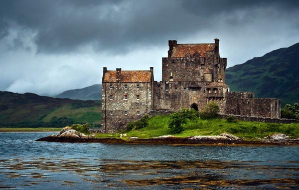 Картинка озеро, замок, Scotland, United Kingdom, Dornie