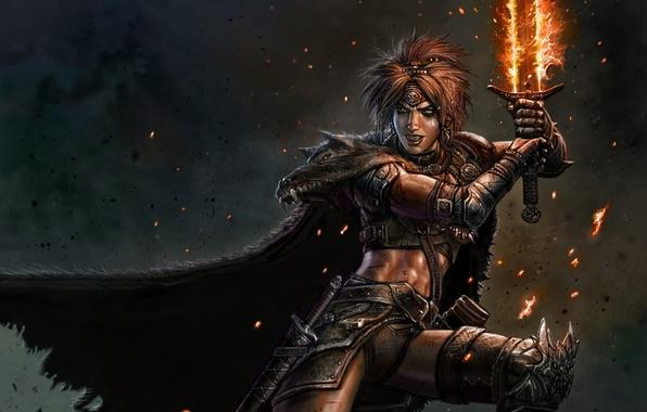Картинка огонь, магия, женщина, меч, воин, мех, плащ, варвар