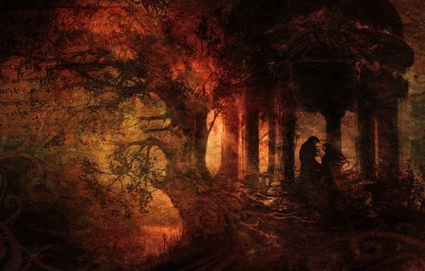 Картинка лес, письмо, девушка, текст, корни, дерево, встреча, dark, царапины, парень, беседка, 1920x1080, грандж, Анимэ