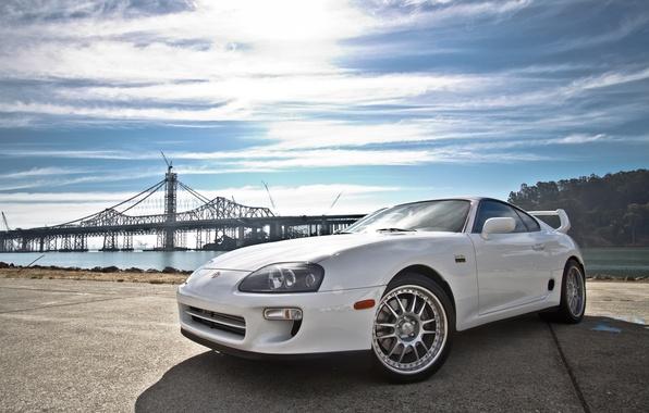 Картинка белый, фон, тюнинг, Toyota, автомобиль, диски, двухдверный спорткар