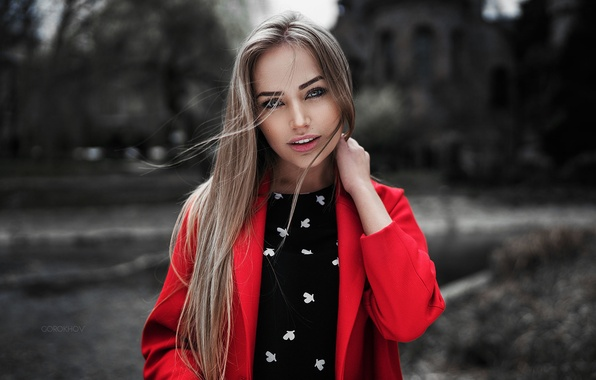 Картинка Girl, Red, Model, Beauty, View, Coat, Nice, Mary Jane, Portait, Gorokhov