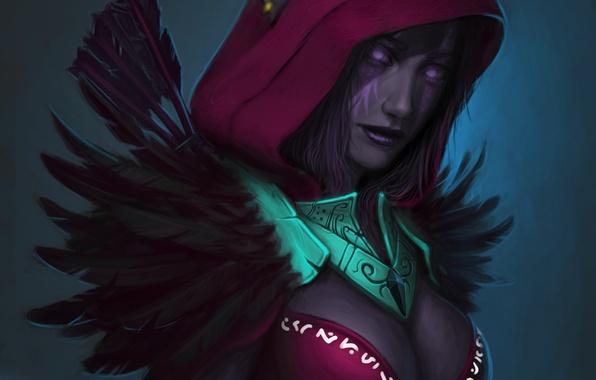 Картинка перья, арт, капюшон, эльфийка, Night Elf, wow, world of warcraft
