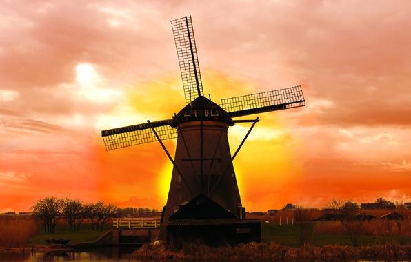 Картинка мост, рассвет, мельница, речка, Нидерланды