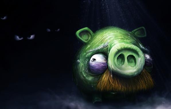 Картинка страх, тьма, свинья, angry birds, злые птицы