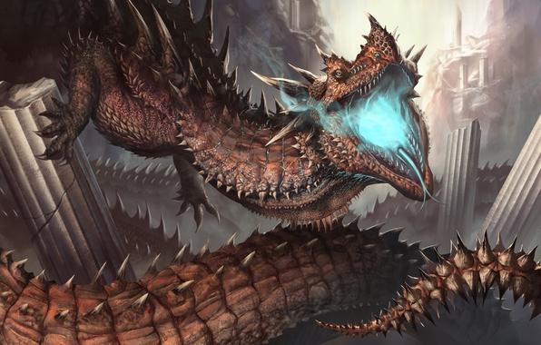 Картинка взгляд, фантастика, дракон, лапы, арт, пасть, хвот