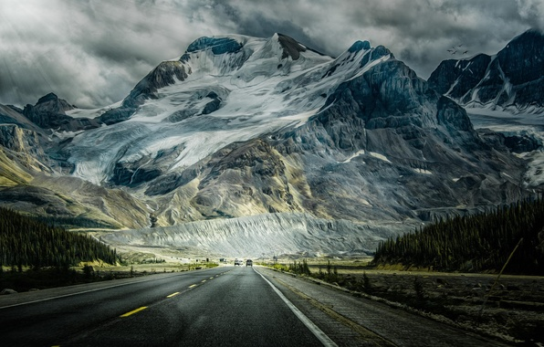 Картинка дорога, лес, снег, горы, машины, фото, рисунок, обработка