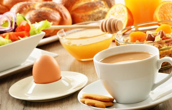 Картинка яйцо, кофе, еда, завтрак, печенье, мед, чашка, фрукты, выпечка, салат, булочки, мюсли