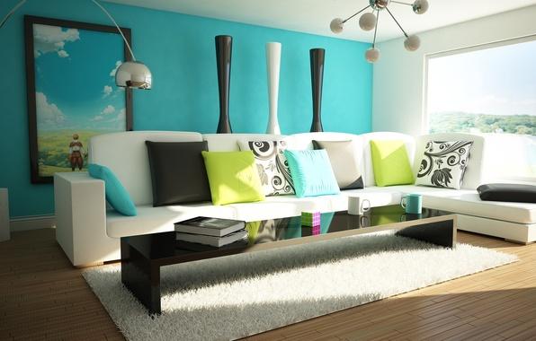 Картинка зеленый, стол, лампы, комната, диван, голубой, яркие, цветные, книги, интерьер, подушки, кружка, чашка, квартира, кубик …
