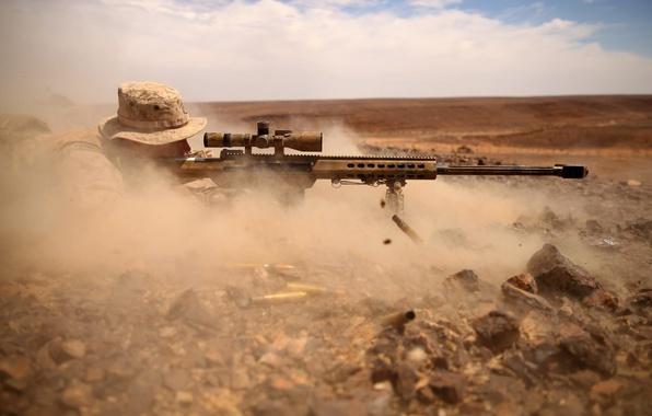 Картинка пыль, солдат, оптика, снайпер, M82, Barret
