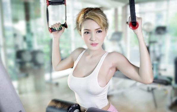 Картинка девушка, спорт, азиатка, тренировка