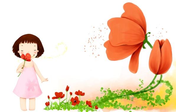 Картинка цветы, улыбка, лепестки, платье, девочка, детские обои
