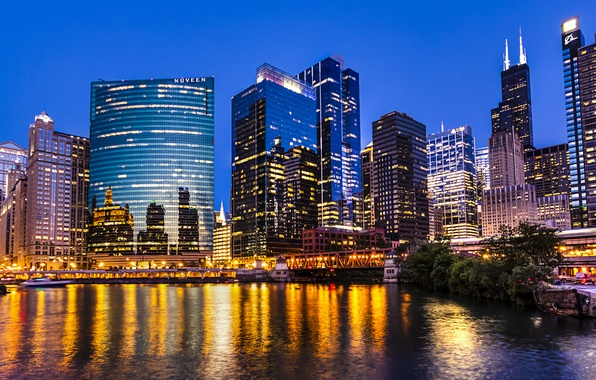 Картинка свет, город, огни, отражение, река, побережье, здания, небоскребы, вечер, Чикаго, USA, США, Иллинойс, Chicago, Illinois, ...
