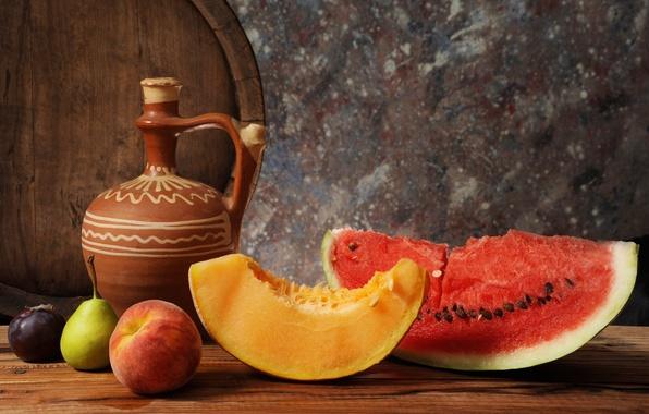 Картинка арбуз, груша, кувшин, фрукты, натюрморт, бочка, персик, дыня, слива