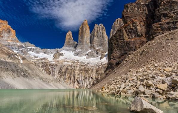 Картинка пейзаж, горы, природа, скала, озеро, Чили, Patagonia