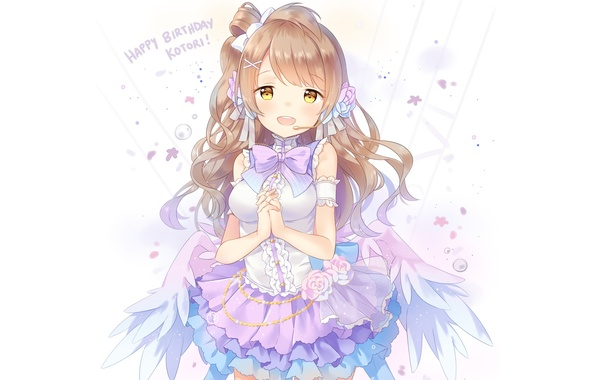 Картинка девушка, улыбка, крылья, аниме, арт, микрофон, love live! school idol project, minami kotori, hitsukuya