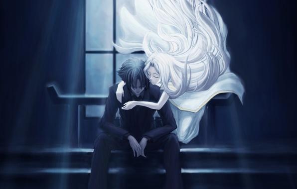 Картинка девушка, свет, ночь, арт, объятия, ступени, парень, сидя, emiya kiritsugu, irisviel von einzbern, fate/zero, type-moon