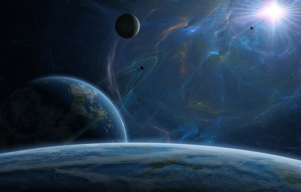 Картинка энергия, космос, звезда, планеты, спутник, кольца, атмосфера