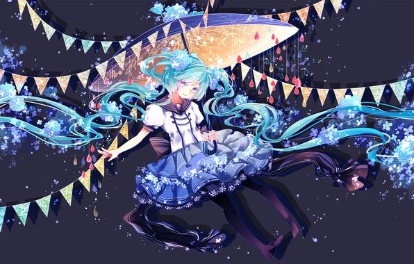 Картинка девушка, цветы, улыбка, зонт, аниме, арт, vocaloid, hatsune miku, shuuumatsu