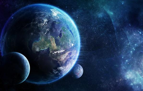 Картинка звезды, свет, туманность, планеты, спутники, nebula