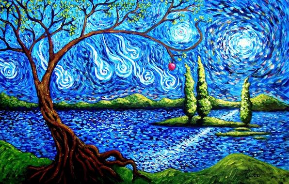 Картинка небо, абстракция, озеро, дерево, остров, яблоко, арт