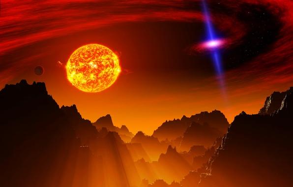 Картинка небо, свет, горы, вселенная, звезда, планета, галактика, рельеф, квазар