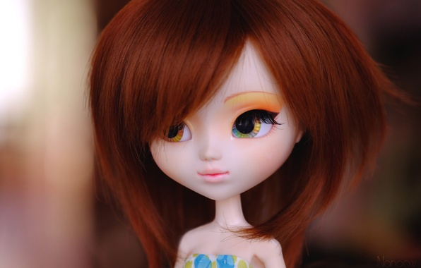 Картинка взгляд, лицо, игрушка, кукла, рыжая