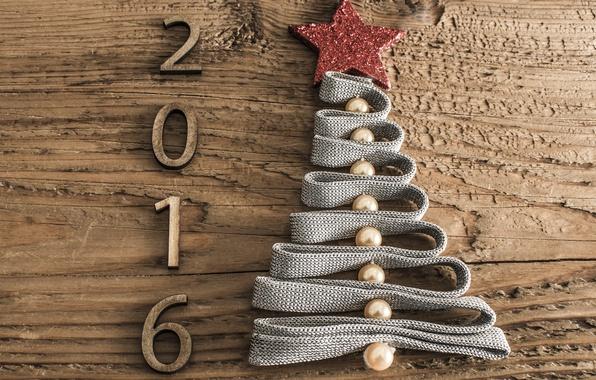 Картинка дерево, праздник, звезда, елка, новый год, цифры, лента, ёлка, ёлочка, бусины, дата, деревянное, 2016, обои …