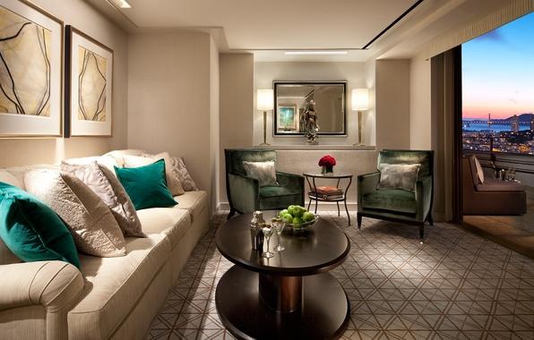 Картинка дизайн, город, стиль, комната, диван, яблоки, вид, интерьер, подушки, зеркало, бокалы, кресла, картины, Сан-Франциско, балкон, …