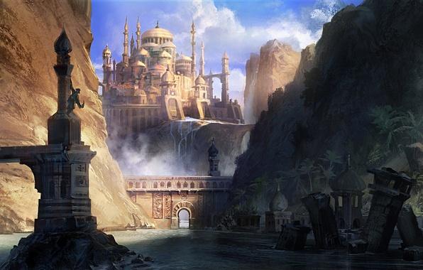 Картинка горы, город, река, скалы, человек, арт, арка, руины, Prince of Persia, The Forgotten Sands